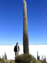 Bertrand a cote d'un cactus geant de 1200 ans