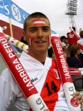 Fanatique de l'equipe du Perou pendant le quart de finale Perou-Argentine