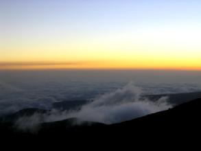 Coucher de soleil depuis le refuge Whimper sous le Chimborazo