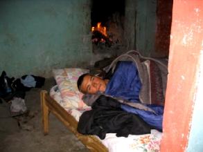 Feu de cheminee dans la chambre a Quilotoa